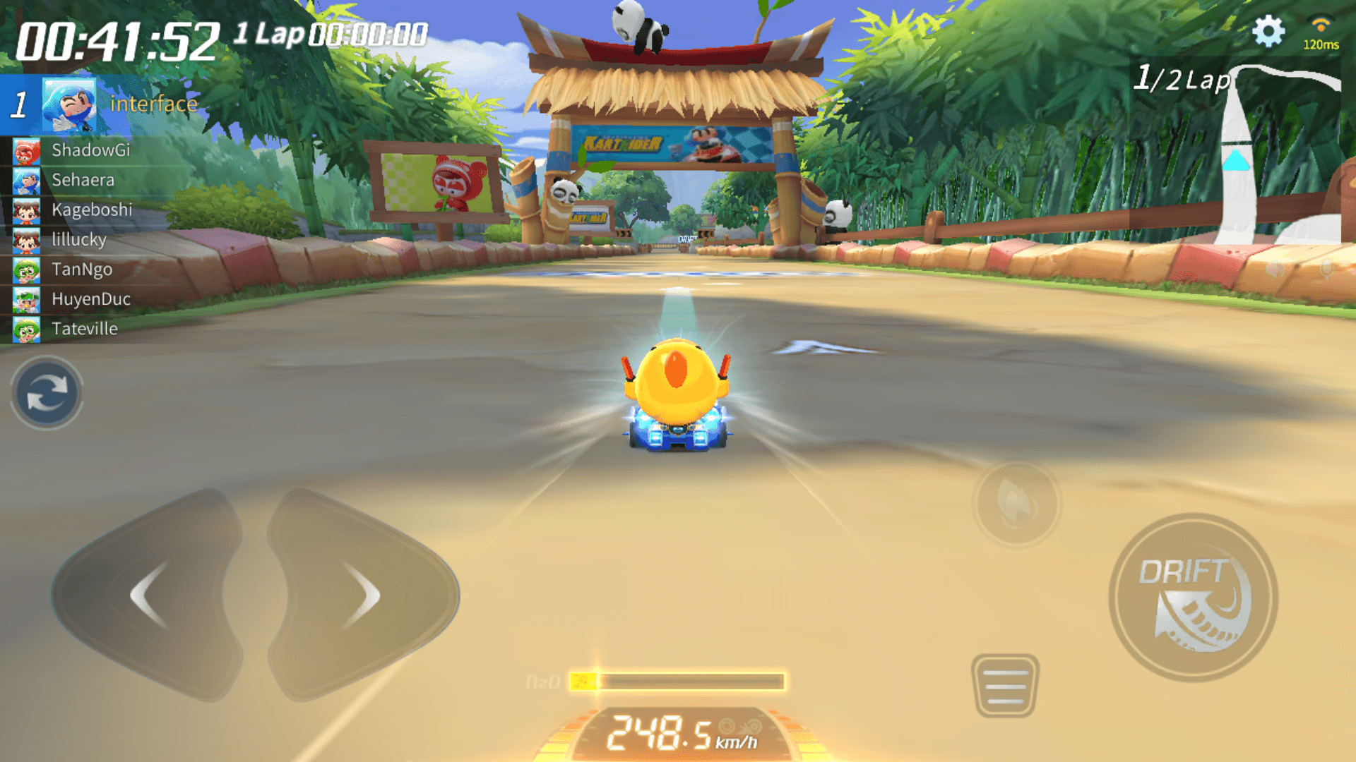 Boost screenshot of KartRider Rush+ video game interface.