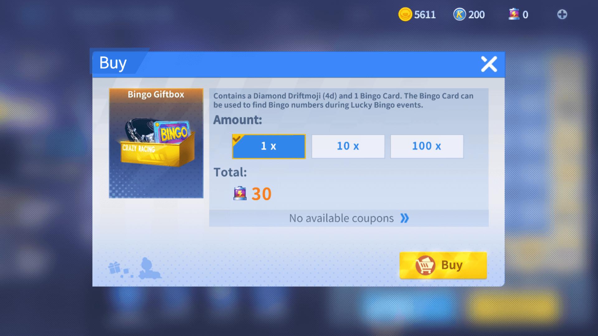 Buy Bingo Giftbox screenshot of KartRider Rush+ video game interface.