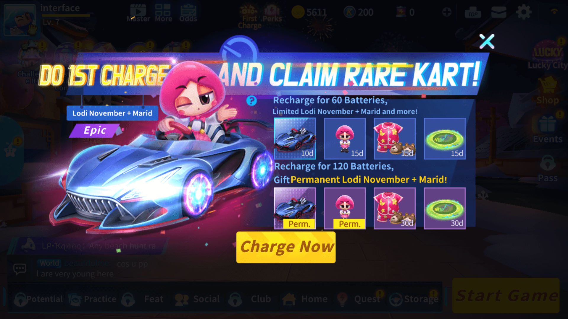 Claim rare kart screenshot of KartRider Rush+ video game interface.