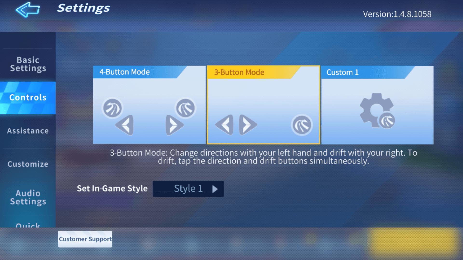 Controls screenshot of KartRider Rush+ video game interface.