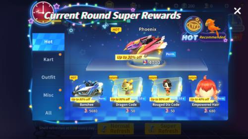 Current Round Super Rewards screenshot of KartRider Rush+ video game interface.