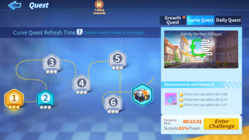Curve Quest screenshot of KartRider Rush+ video game interface.