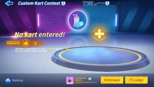 Custom Kart Contest screenshot of KartRider Rush+ video game interface.