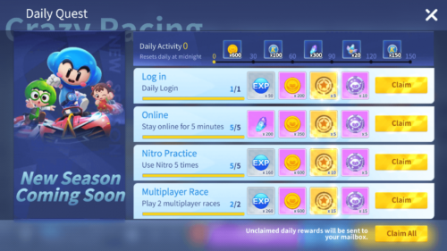 Daily Quest screenshot of KartRider Rush+ video game interface.