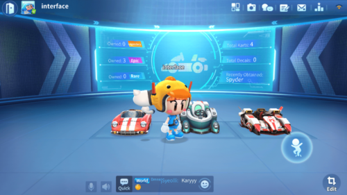 Garage screenshot of KartRider Rush+ video game interface.