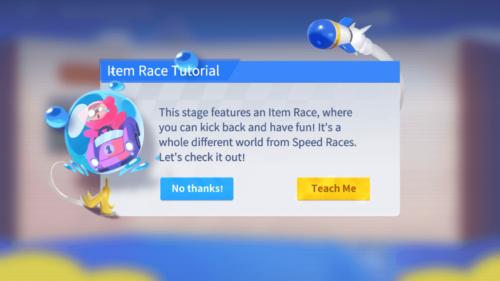 Item Race Tutorial screenshot of KartRider Rush+ video game interface.