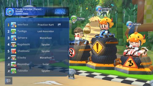 Race rank screenshot of KartRider Rush+ video game interface.