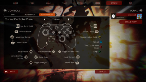 Button layout screenshot of Killing Floor 2 video game interface.