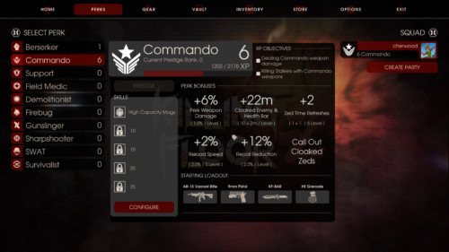 Commando screenshot of Killing Floor 2 video game interface.