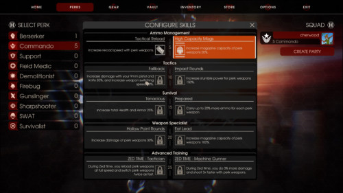 Configure skills screenshot of Killing Floor 2 video game interface.