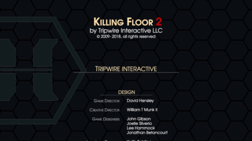 Credits screenshot of Killing Floor 2 video game interface.