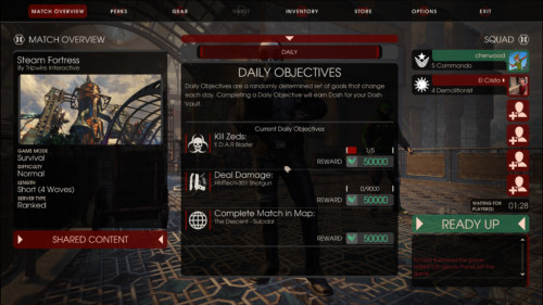 Daily objectives screenshot of Killing Floor 2 video game interface.