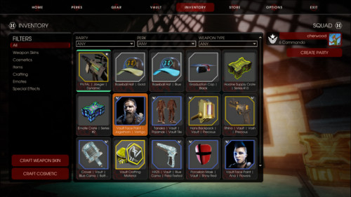 Inventory screenshot of Killing Floor 2 video game interface.
