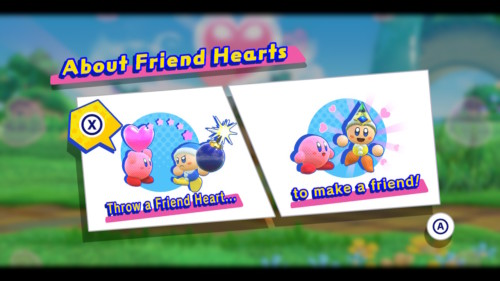 About friend hearts screenshot of Kirby Star Allies video game interface.