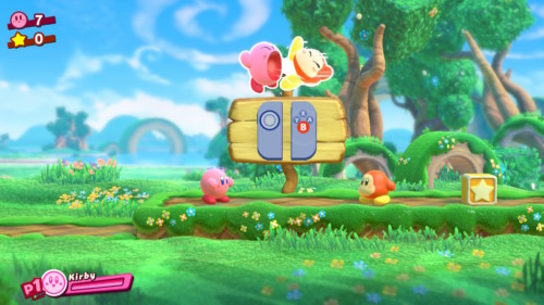 Attack screenshot of Kirby Star Allies video game interface.