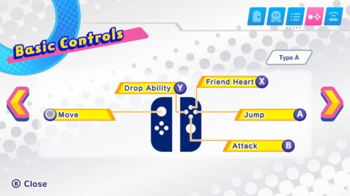 Basic controls screenshot of Kirby Star Allies video game interface.