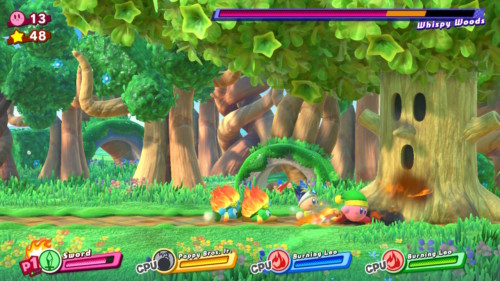 Boss fight screenshot of Kirby Star Allies video game interface.