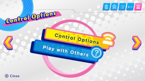 Control options screenshot of Kirby Star Allies video game interface.