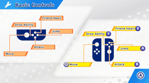 Controls screenshot of Kirby Star Allies video game interface.