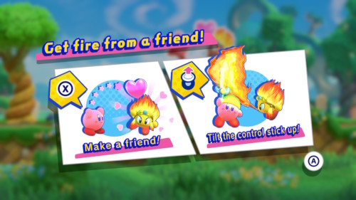 Get fire from a friend screenshot of Kirby Star Allies video game interface.