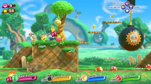 In game screenshot of Kirby Star Allies video game interface.