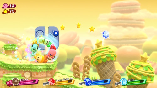 Jump screenshot of Kirby Star Allies video game interface.