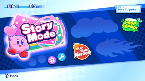 Main menu screenshot of Kirby Star Allies video game interface.