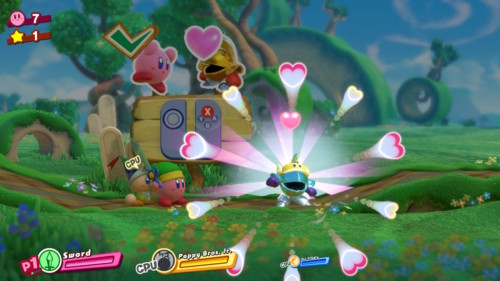 Make friend screenshot of Kirby Star Allies video game interface.