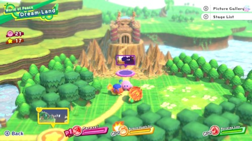Map screenshot of Kirby Star Allies video game interface.