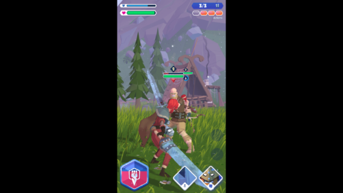 Battle screenshot of Knighthood video game interface.