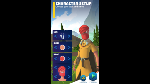 Character setup screenshot of Knighthood video game interface.