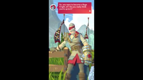 Dialogue screenshot of Knighthood video game interface.