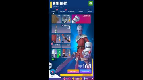 Equip screenshot of Knighthood video game interface.