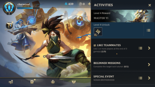 Activities screenshot of League of Legends: Wild Rift video game interface.