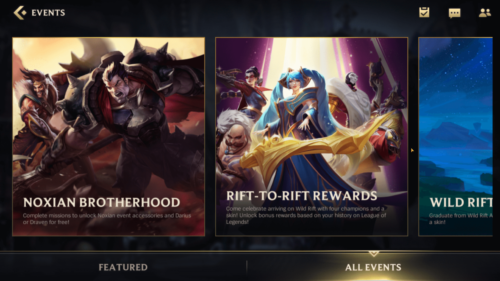 All events screenshot of League of Legends: Wild Rift video game interface.
