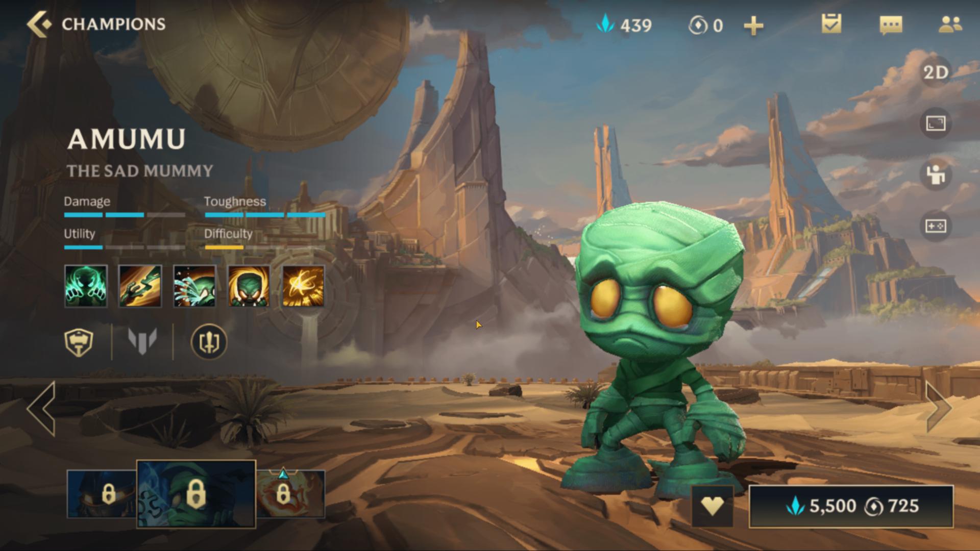 Amumu champion screenshot of League of Legends: Wild Rift video game interface.