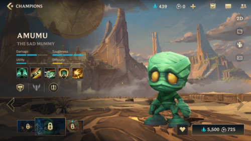 Amumu champion screenshot of League of Legends: Wild Rift video game interface.