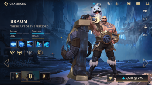 Braum champion screenshot of League of Legends: Wild Rift video game interface.