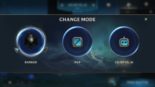 Change mode screenshot of League of Legends: Wild Rift video game interface.