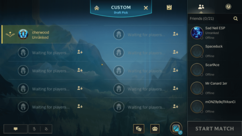 Custom mode screenshot of League of Legends: Wild Rift video game interface.