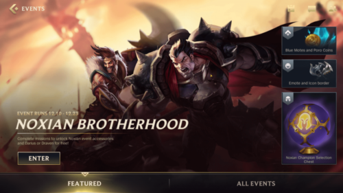 Featured event screenshot of League of Legends: Wild Rift video game interface.