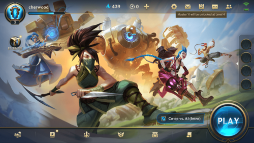 Main menu screenshot of League of Legends: Wild Rift video game interface.