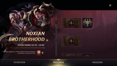 Noxian Brotherhood event screenshot of League of Legends: Wild Rift video game interface.