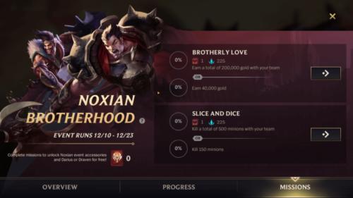 Noxian Brotherhood missions screenshot of League of Legends: Wild Rift video game interface.