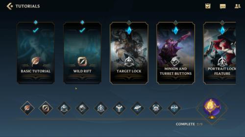 Tutorials screenshot of League of Legends: Wild Rift video game interface.