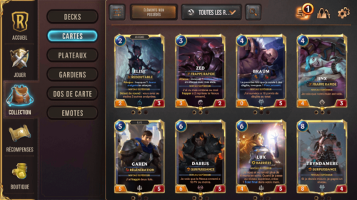 Collection screenshot of Legends of Runeterra Mobile video game interface.