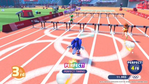 110m hurdles screenshot of Mario and Sonic at the Olympic Games: Tokyo 2020 video game interface.