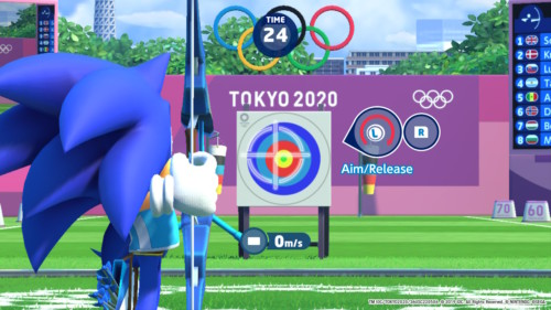 Archery screenshot of Mario and Sonic at the Olympic Games: Tokyo 2020 video game interface.
