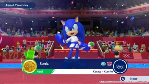 Award ceremony screenshot of Mario and Sonic at the Olympic Games: Tokyo 2020 video game interface.