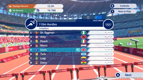 Competitors stats screenshot of Mario and Sonic at the Olympic Games: Tokyo 2020 video game interface.
